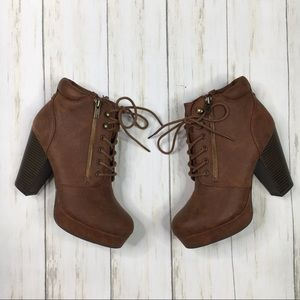 Material Girl Brown Lace Up Heeled Zip Booties